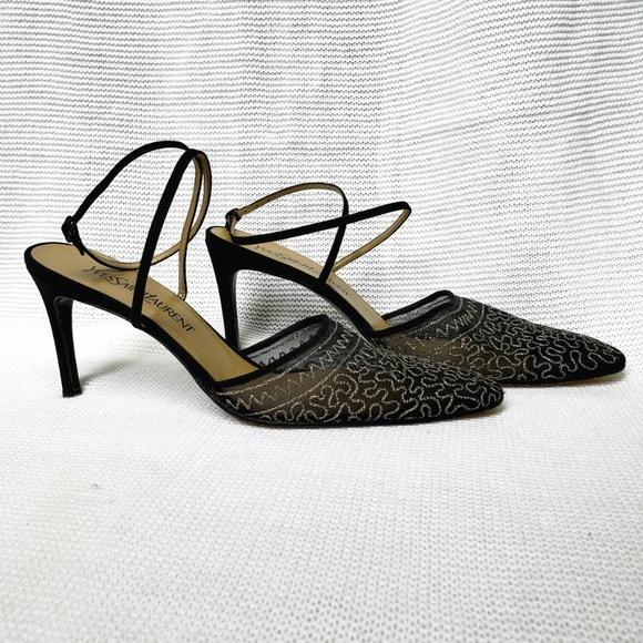 69a605e3fa2 Yves Saint Laurent Shoes | Vintage Rare Ysl Luxor Mesh Silver On ...